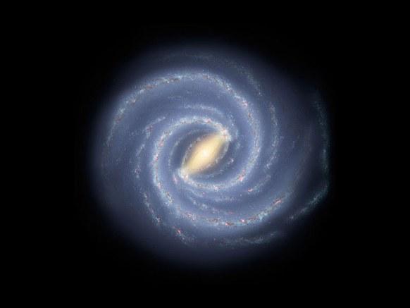 银河系的艺术想象图。科学证据显示,在银河系中心存在一个超大质量黑洞。